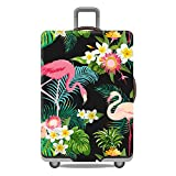 Artone Floral Flamingo Washable Spandex Travel Luggage Protector Baggage Suitcase Cover Fit 29-32 Inch Luggage Black
