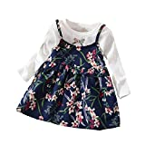Auied (12M-3T Children's Long Sleeve Bow Flower Print Princess Dress Child Baby Girl Floral Costume Pink, Red, White, Yellow