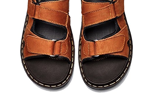 Plus Sandals 3 Cover Brown Color Flats Casual Walking Shoes Mens Leather Size 12 Genuine Summer 5 daqTqA