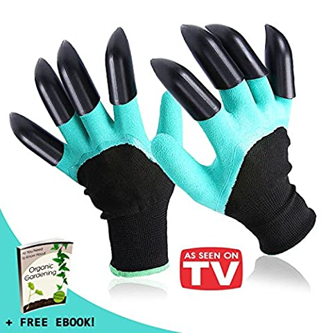 MACALLIN'S Garden Genie Gloves with Fingertips ABS Plastic Claws on BOTH Hands - 100%Waterproof Breathable Laborer Gloves for Quick&Easy Digging Planting&Pruning -As seen on TV + Gardening (Black Thorn Usa Water Bottle)