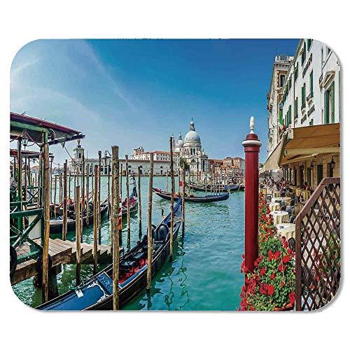 (Wanderlust Decor Non Slip Mouse Pad,Gondola on Canal Grande Basilica di Santa Maria Della Salute Sunny Day in Venice for Laptop Computer & PC,7.87''Wx9.45''Lx0.08''H)