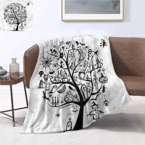 DILITECK Lightweight Blanket Halloween Flying Witch Digital Printing Blanket W54 xL72 Traveling,Hiking,Camping,Full Queen,TV,Cabin -