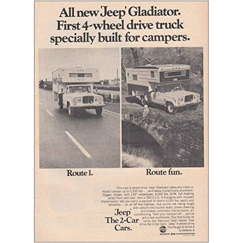 RelicPaper 1969 Jeep Gladiator: Specially Built for Campers, Jeep Print Ad