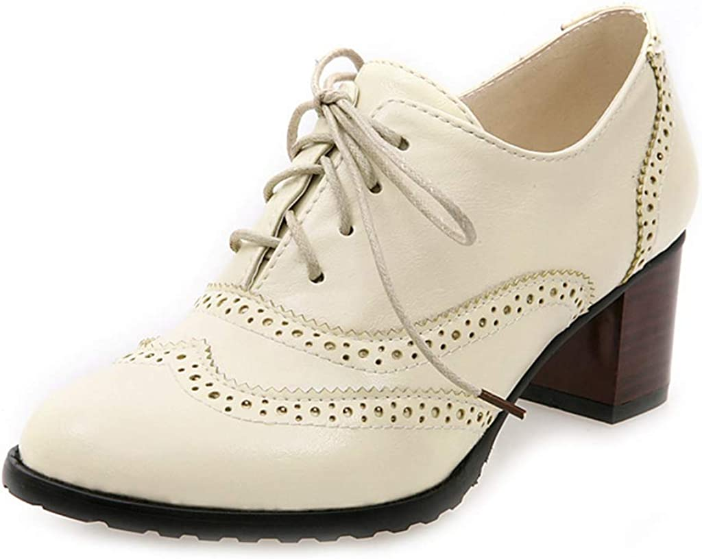 Womens Block Mid Heels Oxfords Retro Brogues Wing Tip Lace Up Shoes preppy style