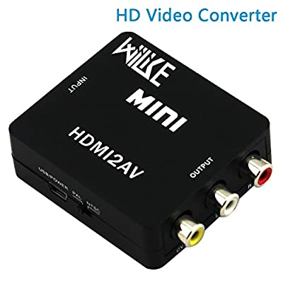 Wiilike 1080P HDMI to AV 3RCA CVBs Composite Video Audio Converter Adapter HDMI 2 AV Supporting PAL/NTSC PC /Laptop /Xbox/ PS4/ PS3 /TV /STB /VHS /VCR Camera /DVD black