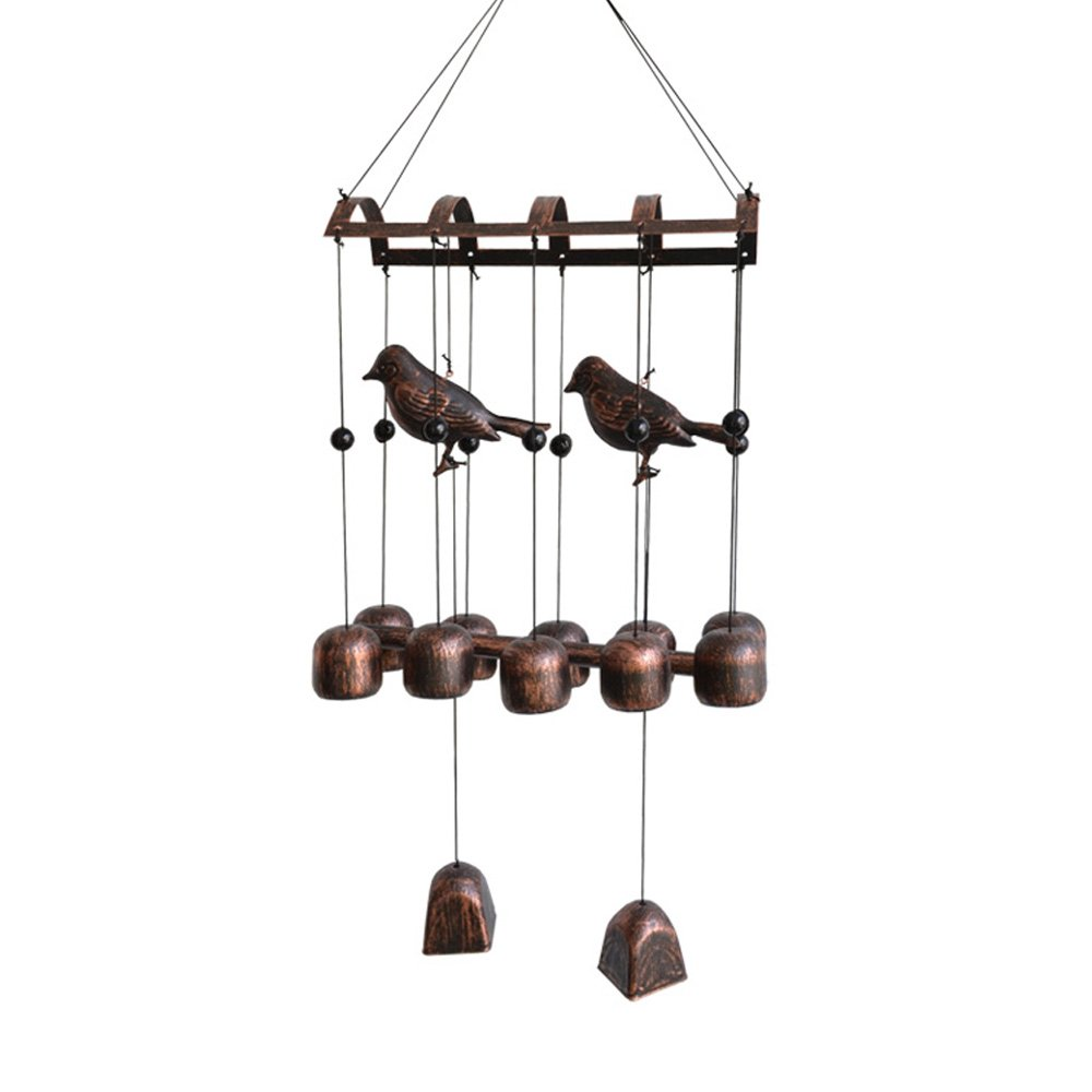 BLESSEDLAND Bird Wind Chime,12 Wind Bells and 2 Metal Birds for Outdoor Patio(25-3/4'')