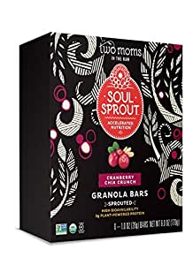 Soul Sprout, By Two Moms Sprouted Granola Bars, Cranberry Chia Crunch