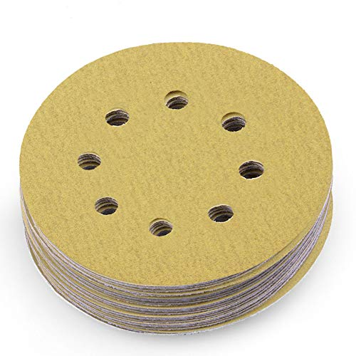 LotFancy Sandpaper 5-Inch 8-Hole 150 Grit Dustless Hook-and-Loop Sanding Disc Sander Paper, Pack of 100