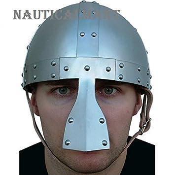 Medieval Caballero Acero Viking casco con sólida nasal por Nauticalmart