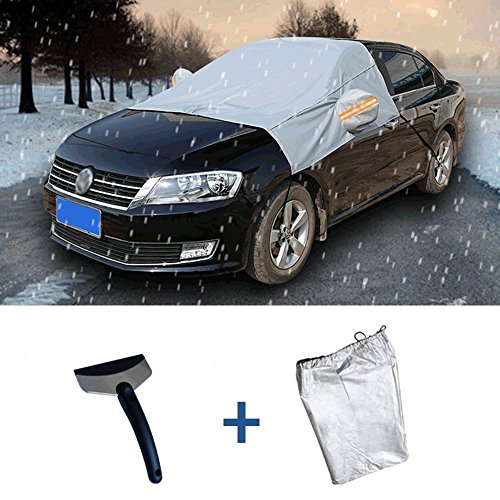 IC ICLOVER Windshield Protector Snow Cover with Ice Scraper and Free Storage Pouch, Ice Snow Sun Dust Frost Guard and Windproof Car Windshield Cover Fit for Cars, CRVs and SUVs
