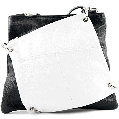 modamoda de - ital. Ledertasche Damentasche Messengertasche Umhängetasche 2in1 Leder T140 Schwarz/Weiß TPkKQwFTTn
