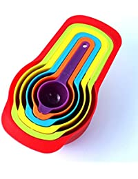Favor 6 PCS Plastic Nested Measuring Cups and Spoons. Stackable Space Saving Multicolor Design discount