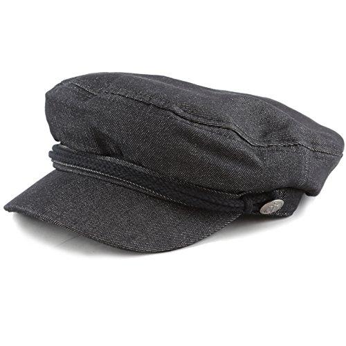 THE HAT DEPOT Black Horn Unisex Cotton Greek Fisherman's Cap (S/M, Black (Jeans Hat)