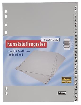 5x Ordnerregister Register A4 1-31 Plastikregister grau 31 teilig PP-Folie 120 µ