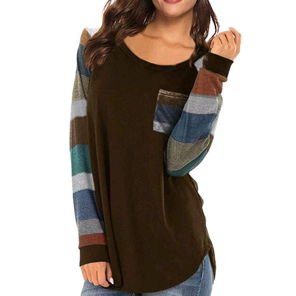 Forthery Women Blouse Casual Stripe Long Sleeve Pullover Tunic Tops Shirts(Grey,US Size M = Tag L) by Forthery (Image #1)