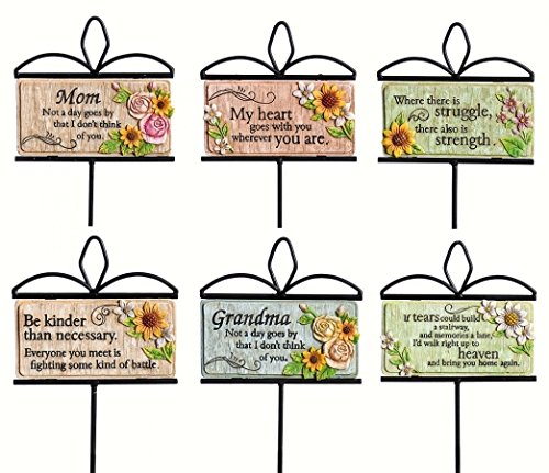 Evergreen Enterprises EG845224 Wishgivers Simple Blessings Garden Stake, 6 Piece