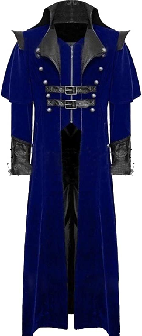 CuteRose Mens Open Front Gangster Deluxe Gothic Punk Duster Coat