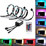 EveShine Bias Lighting TV Backlight for HDTV LED Strips Led Lights with Remote Control, 2 RGB LED Strip Home Multi Color RGB LED Neon Accent TV Lighting for Flat Screen TV Accessories, Desktop PC
