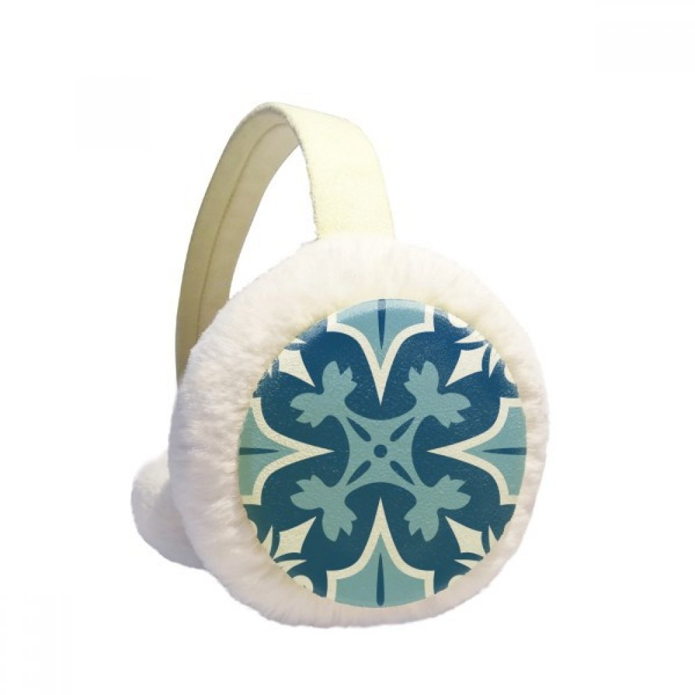 Morocco Decorative Flower Blue Ilustration Winter Earmuffs Ear Warmers Faux Fur Foldable Plush Outdoor Gift