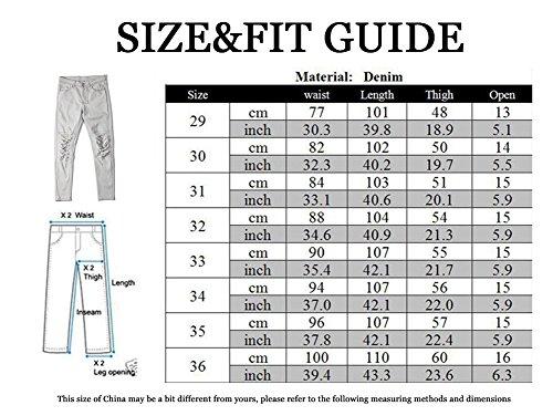 Jeans Uomo Nero Skinny Moda Carino Pantaloni Distintivo Strappati Ginocchio In r5qrSw