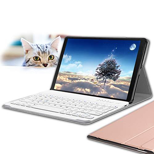 Galaxy Tab A 10.1 2019 Keyboard Case, Wineecy PU Leather Magnetically Detachable Wireless Keyboard for Samsung Galaxy Tab A 10.1 Inch SM-T510 SM-T515 2019, Rosegold