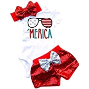 Baby Girls American Flag Stripe Printed Romper+Sequins Bowknot Shorts+Headband 3Pcs Sets Size 9-12 Months/Tag80 (White)