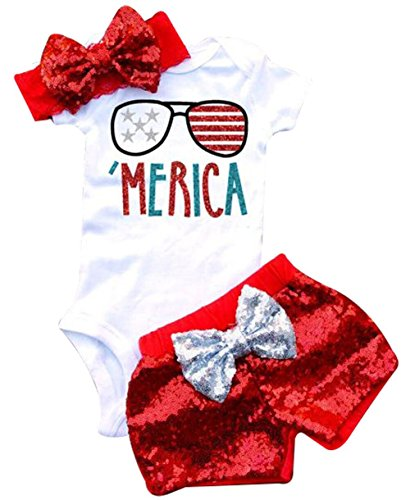 Baby Girls American Flag Stripe Printed Romper+Sequins Bowknot Shorts+Headband 3Pcs Sets Size 12-18Months/Tag90 -