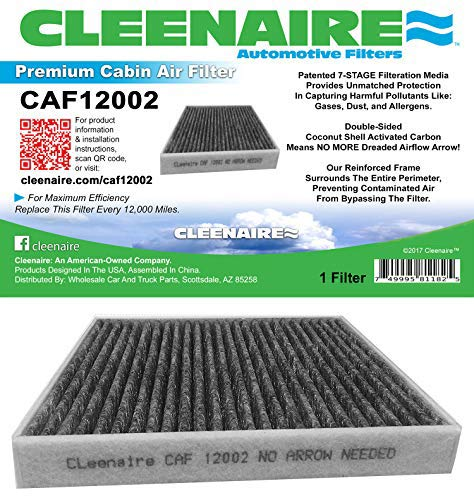 (Cleenaire CAF12002 The Most Advanced Protection Against Smog Bacteria Dust Viruses Allergens Gases Odors, Cabin Air Filter For 15-17 Hyundai Sonata (Excluding Hybird))