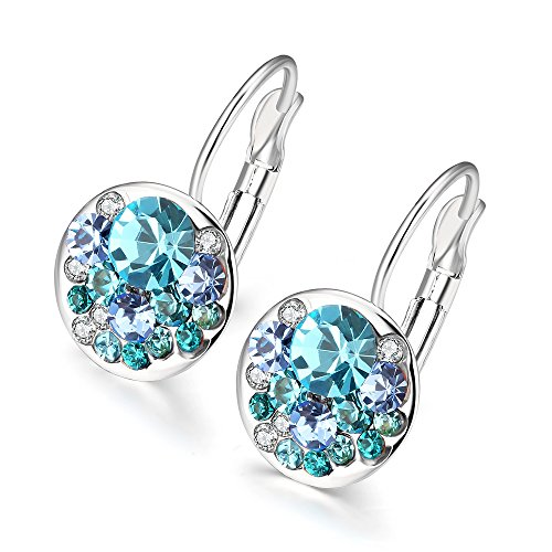 Pave Italian (Naivo Italian Periwinkle Pave CZ Crystal Cluster Drop Earring, 4 Styles)