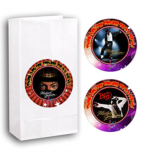 12 Michael Jackson Anniversary Birthday Party Favor Bags with Stickers #1