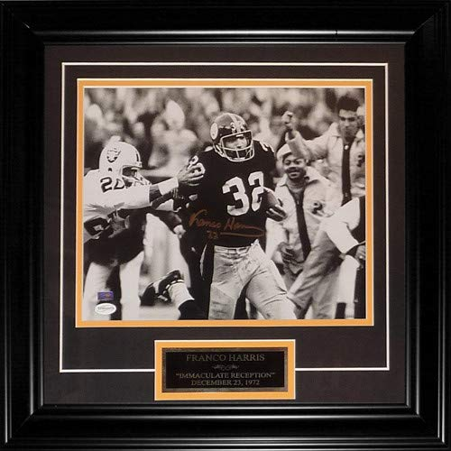 Franco Harris Autographed Signed Auto Pittsburgh Steelers Immaculate Reception Deluxe Framed 11 14 Photograph Nameplate - Certified Authentic