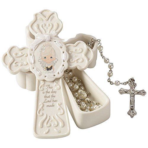 Communion Girl Figure - Precious Moments,  This Is The Day The Lord Has Made Bisque Porcelain Box With White Faux Pearl Rosary, For Girl, 153404