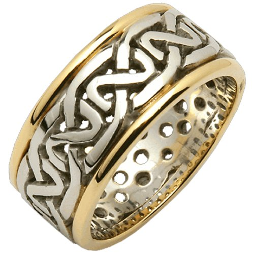 Ladies 14k Gold Two Tone Celtic Knot Wedding Ring Made in Ireland