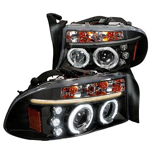 Spec-D Tuning 2LHP-DAK97JM-TM Dodge Dakota Durango Dual Halo Black Projector Head Lights