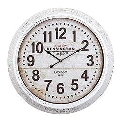 Circular Iron Wall Clock Black White Classic Round Metal Wood Battery Numerical Display