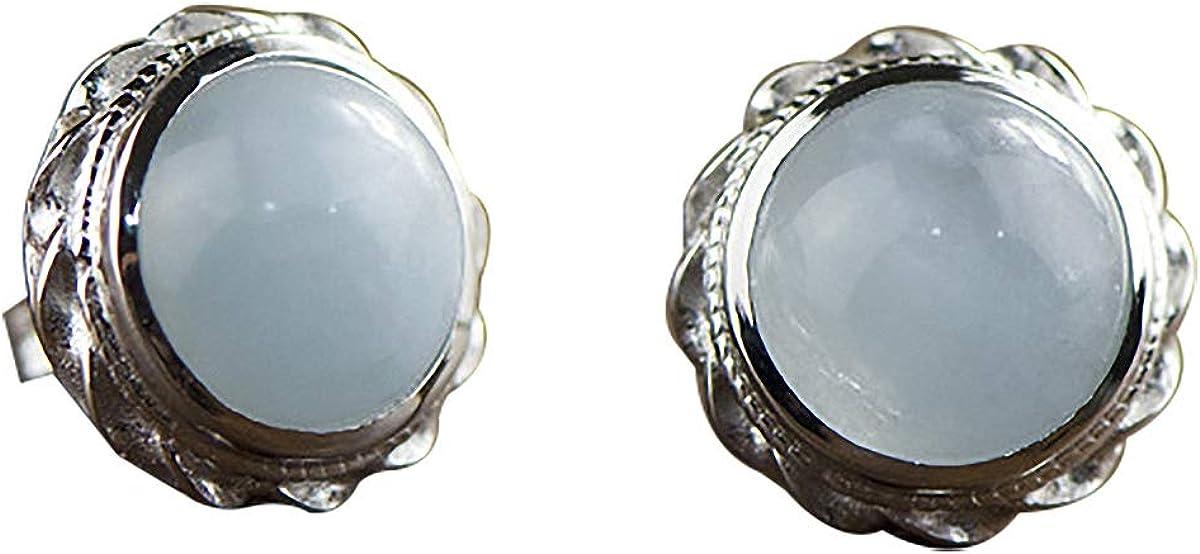 Lotus Fun S925 Pendientes de plata de ley con mosaico, redondos, aguamarina, piedras preciosas, temperamento natural, joyas para mujeres y niñas