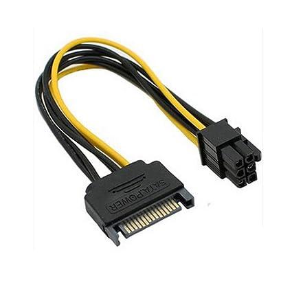 ciciyoner 2 unidades Cable de alimentación SATA 15 Pines A 6 Pin ...