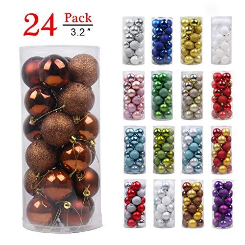 (Christmas Balls Ornaments for Xmas Tree - Shatterproof Christmas Tree Decorations Large Hanging Ball Bronze 3.2