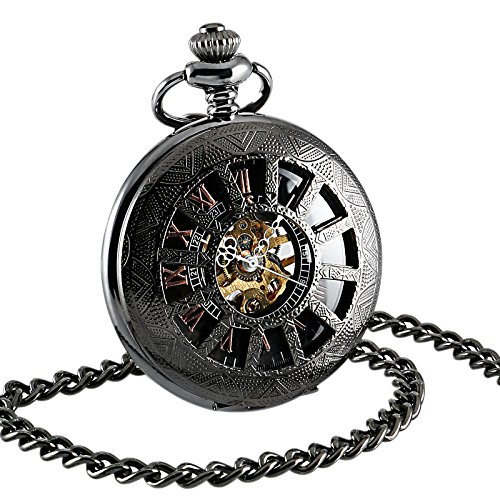 ESS Hand-Winding Mechanical Watch Pendant Gift Black Silver Mens Sport DAD by OLSUS