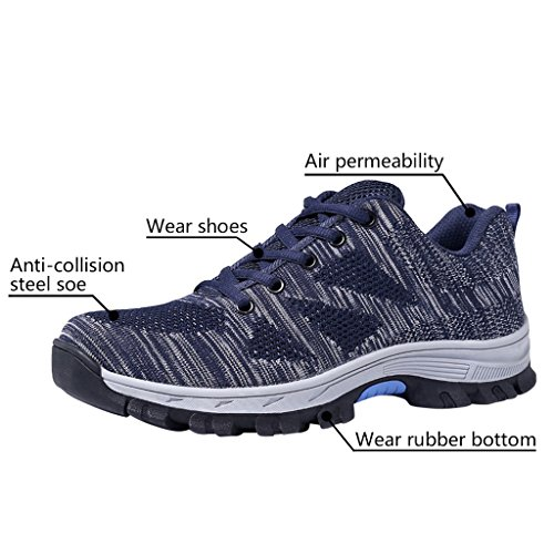 Gray Optimal Men's Shoes Safety Shoes Steel Toe Shoes Work Blue zzrZ6xqd
