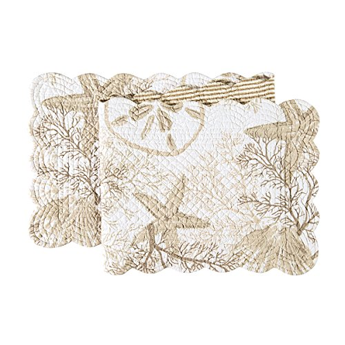 (C&F Home Barefoot Landing Cotton Quilted Reversible Table Runner 1451 Table Runner Natural)