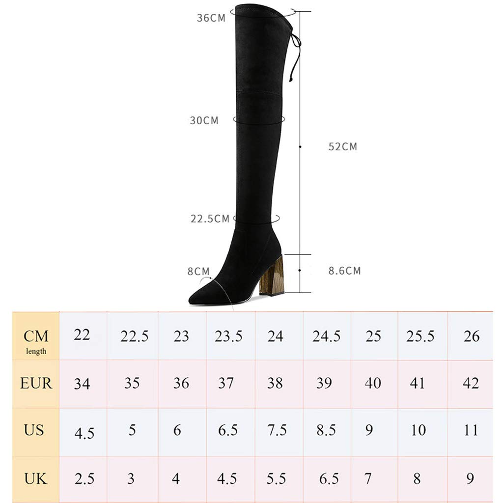 Martin Boots Female Autumn and Winter 2018 New Plus Velvet Square Head British Wind Black Slim Thick with Heel High Heels Over The Knee Boots Color : Black, Size : 35