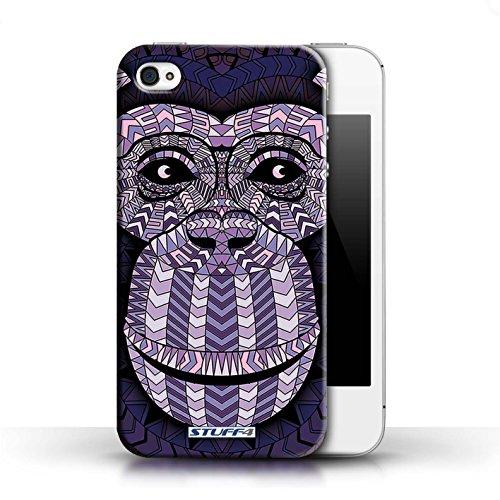 Coque en plastique pour Apple iPhone 4/4S Collection Motif Animaux Aztec - Singe-Pourpre