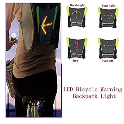 (HQ) Wireless Remote Control LED Turn Signal Light Cycling Safety Warning Indicator USB Charger Backpack