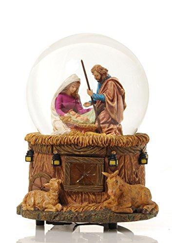Francisco Glass Music Box (THE SAN FRANCISCO MUSIC BOX COMPANY Little Town of Bethlehem Nativity Water)