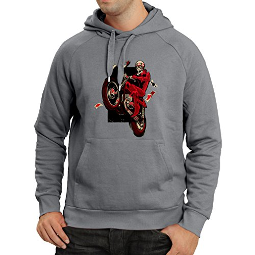Hoodie Motorcyclist - Motorcycle clothing, vintage designs retro clothing (Large Graphite Multi