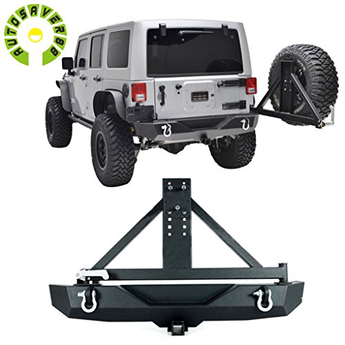 AUTOSAVER88 Black Textured Off Road Rear Bumper with Tire Carrier for JK Jeep Wrangler