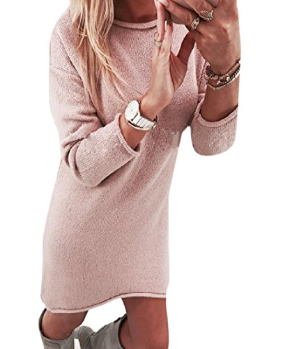 Coolred Knit Cocktail Slim Elegant Womens Dress Pure Casual Pink Color Fit 004rq