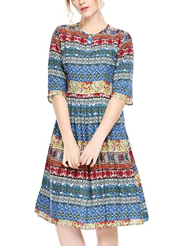 Acevog Tunique Bohème Femmes Cru Imprimé Persia Robe Rouge