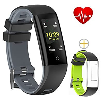 Bloranda Fitness Tracker Activity Tracker Watch Colorful UI Touch Screen with Heart Rate Monitor Sleep Monitor Calorie Counter Watch Pedometer IP67 Waterproof Bracelet Wristband for iOS/Android